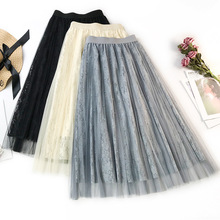 Wasteheart Spring Blue Pink Women Skirt Japan Style High Waist Ball Gown Beading Mid-Calf Long Skirts Mesh Clothing Plus Size