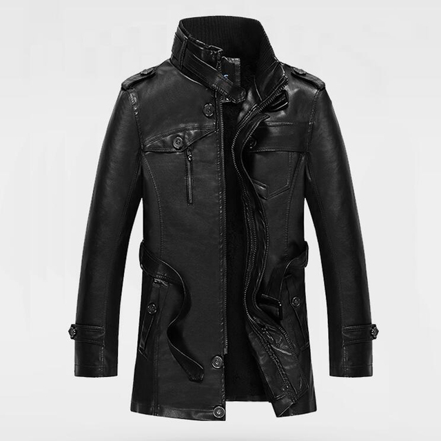 2016 Business Formal Style Casual Sheepskin Long Leather Jacket Coats Mens Winter Leather Coats High Quality Free Shipping S1760