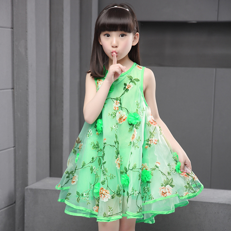 2018 Summer Fashion Girls Dress Lace Flower Ball Gown Sleeveless Dresses Baby Girls Kids Princess Party Dresses Beach Sundress 2016 summer fashion dresses of the girls beautiful female baby lace dress can be customized factory price direct selling