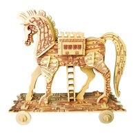Een Kinderspeelgoed Van 3d Puzzel Houten Speelgoed Voor Kinderen Trojan paard Een Beste Montessori Educationaly Diy Speelgoed Als Cadeau Voor Kids