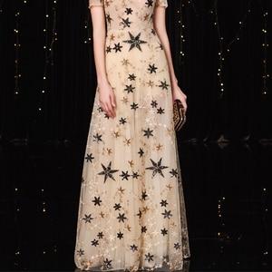 Image 5 - Jancember vestido フォーマル mujer 高ネック a ライン半袖イリュージョンスパンコールエレガントなカクテルドレス коктельное платье