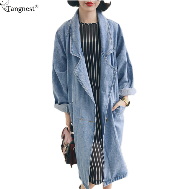TANGNEST Loose Style Denim Trenchcoat For Women 2017 New Spring Big Lapel Casual Trench Single Button Frayed Long Coat WWF856