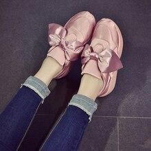 2017 Espadrilles chaussures femme arc-noeud appartements soie arc mocassins bout rond femmes chaussures de dames appartements creepers de luxe chaussures femme