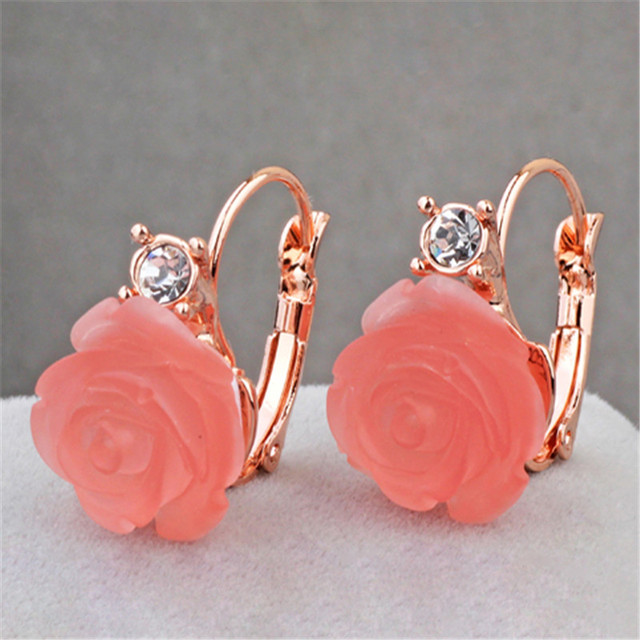 MOONROCY Drop Shipping Fashion Earrings Jewelry Rose Gold Color Crystal Pink Rose Flower Viscose Earrings for Women Gift