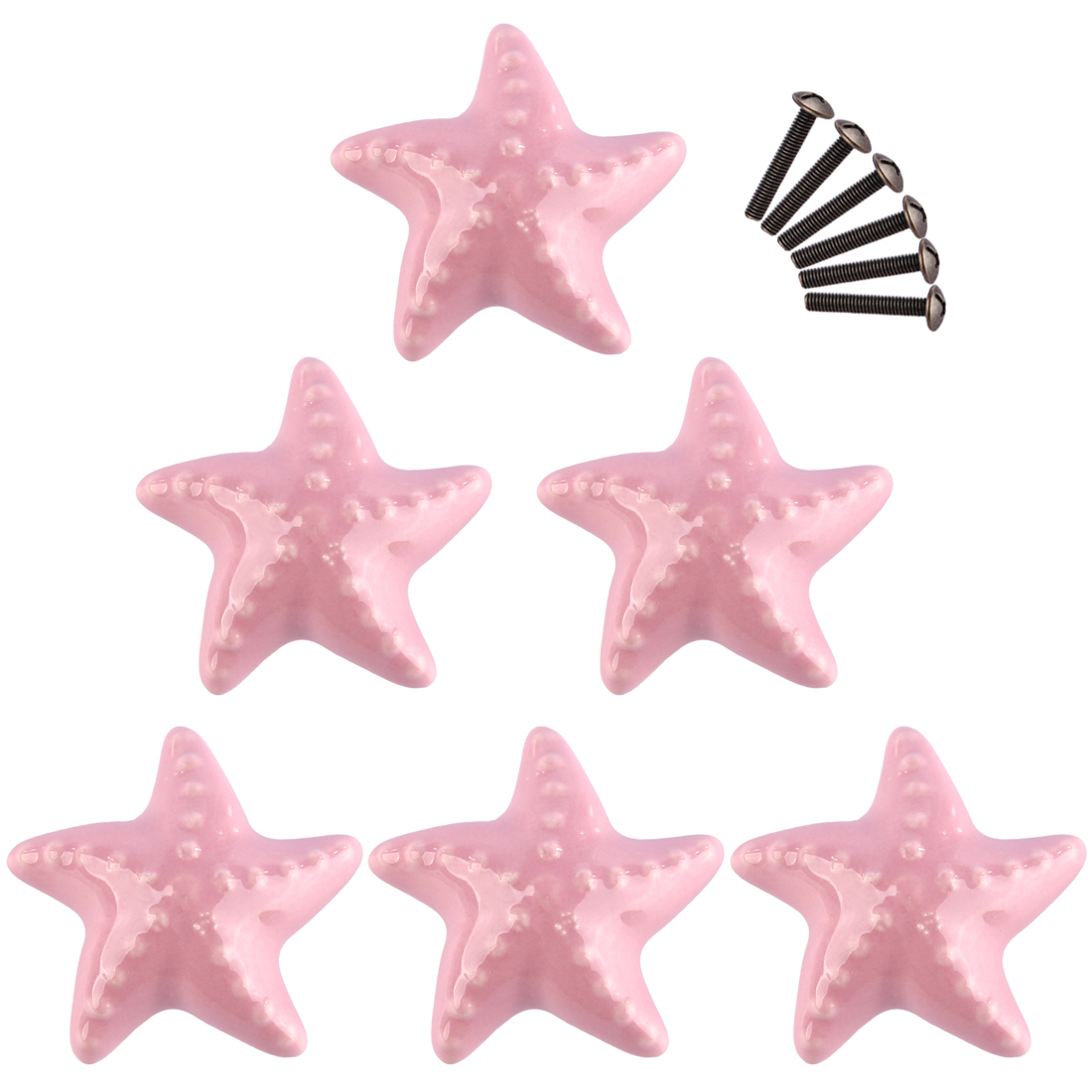 6 PCS Set Ceramic Cute Starfish Shaped Furniture Handles Creative Door Cabinet knobs for Children Cabinet Drawer Wardrobe Door