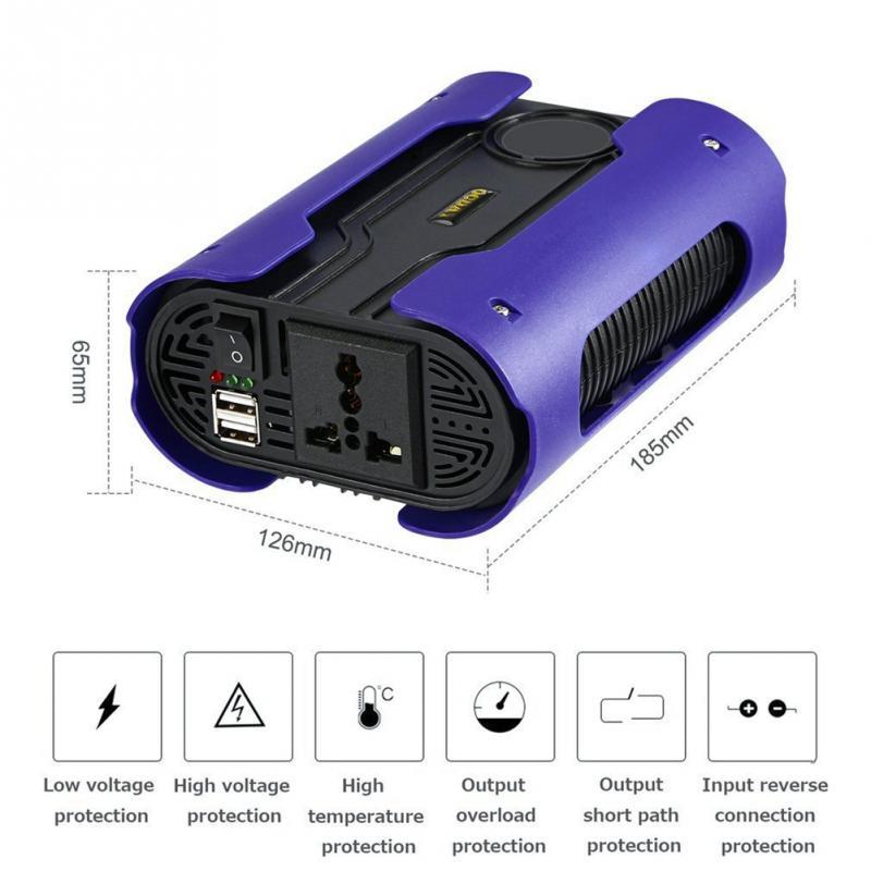 High Quality 1000W 220V Pure Sine Wave Power Inverter Socket Adapter Dual-USB WS Sine