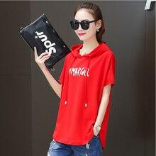 Tシャツ女性 2020 新しいフード付きルーズ夏カジュアル赤白半袖大サイズの女性のファッション印刷 tシャツの綿
