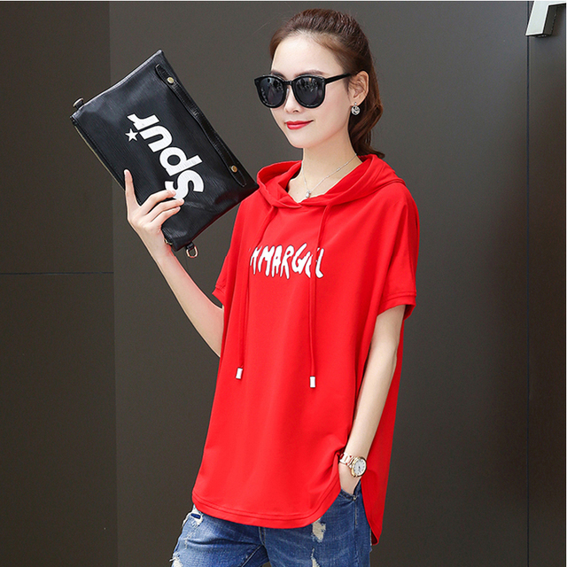 T shirt female 2020 new  hooded loose summer casual red white  short sleeved large size  women fashion printing t shirt  Cotton