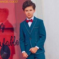 5 Pieces Green Kids Boy Suit Blazer Dress Suit England Style Boys Formal Wedding Blazer Suit Boys Birthday Suit Costume Garcon
