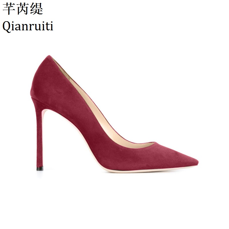 Qianruiti Pink Red Yellow Faux Suede High Heels Women Shoes Sexy Pointed Toe Bridal Wedding Shoes 12CM Thin Heels Women Pumps vintage pendant light exotic colored glass lampshade modern industrial bar christmas tree bedroom antique fixture retro loft