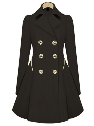 Double Breasted Winter Coat Long Sleeve A line Pleated Trench Coat