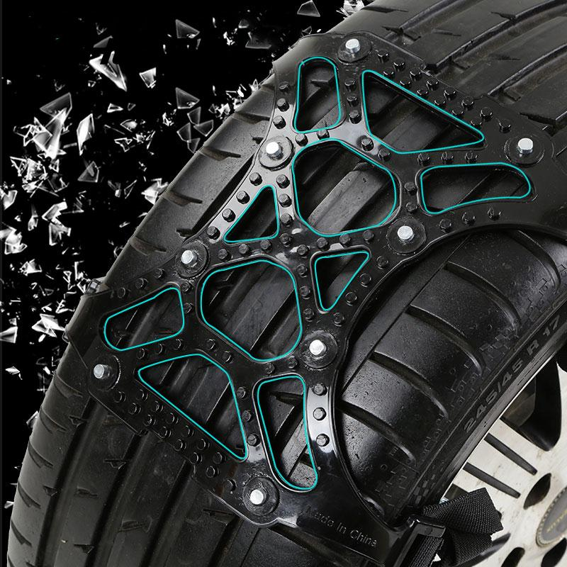 Vehemo TPU Snow Chains Universal Car Fit For 165-265mm Tyre Winter Roadway Safety Tire Chains Climbing Mud Anti-Slip Black