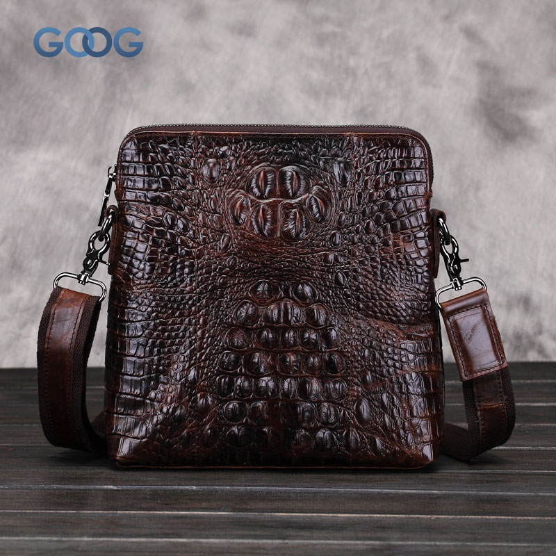 The new vertical section of the square leather crocodile pattern shoulder bag leisure oil wax cowhide men bag fashion leisure Me korean version of the first layer of leather vertical section square shoulder messenger bag in the bag fashion casual tassel lea