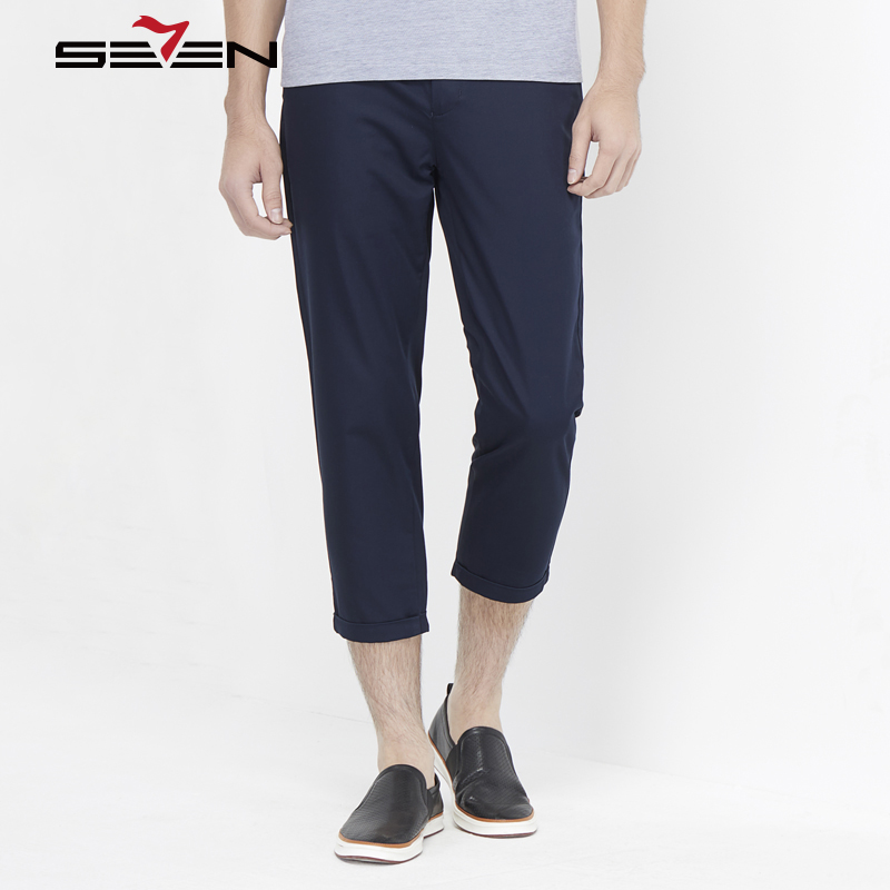 Seven7 Hot Brand Pants Male Calf Length Casual Straight Trousers Pencil Pants For Men Cotton Summer Mens Candy Color 112S80150