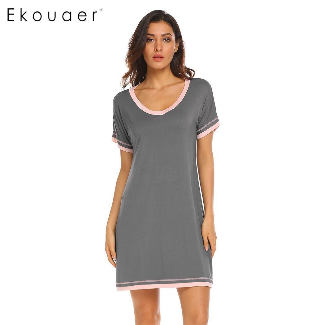 Ekouaer Women Nightgown Casual Nightshirt V-Neck Night Dress Short Sleeve Patchwork Loose Female Sleepwear Chemise Dress