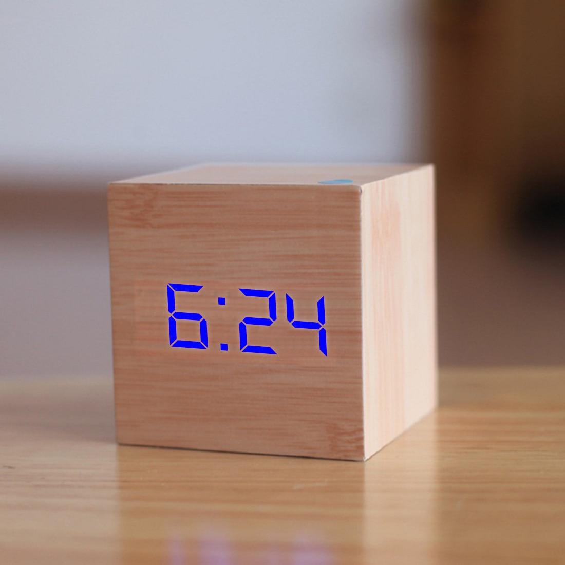 c995b38626e 1 pc Cubo De Controle de Voz Relógio De Madeira USB Bateria Digital LED  Desk Alarm Clock Termômetro Temporizador 6 cm x 6 cm x 6 cm