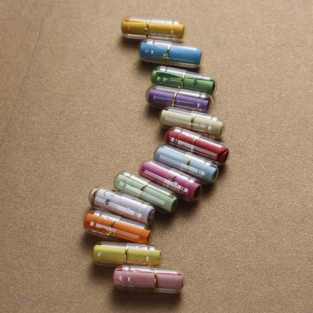 DoreenBeads Creative Love Letter Capsule Mini Gift Box Wish Bottle With Paper Scrip Secret Words For Lovers Plastic Box 10PCs