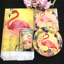 Flamingo theme 20pcs napkins+20pcs cups+20pcs plates+1pcs tablecovers for kids birthday party paper plate cake dishes