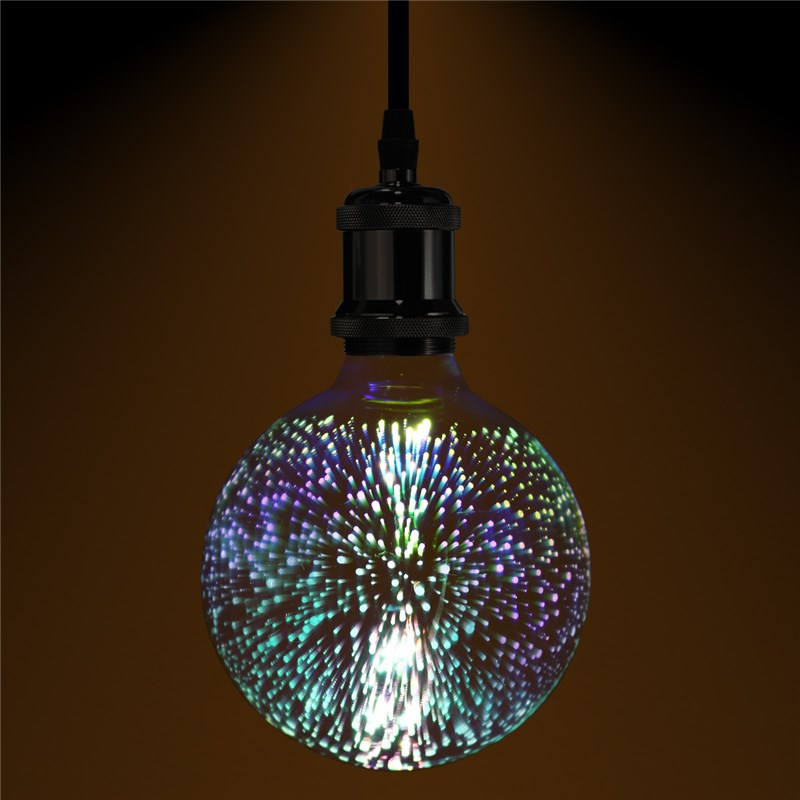 3D Fireworks Retro Edison Bulb 4W E27 G125 LED Light Home Bar Decor Lighting Colorful Glass