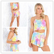 2017 Summer Casual Two piece Set Outfits Strappy Sexy Satin Crop Top Bralette and Short Pants Women Jumpsuit Rompers Bodysuit golden shiny strappy two piece outfits