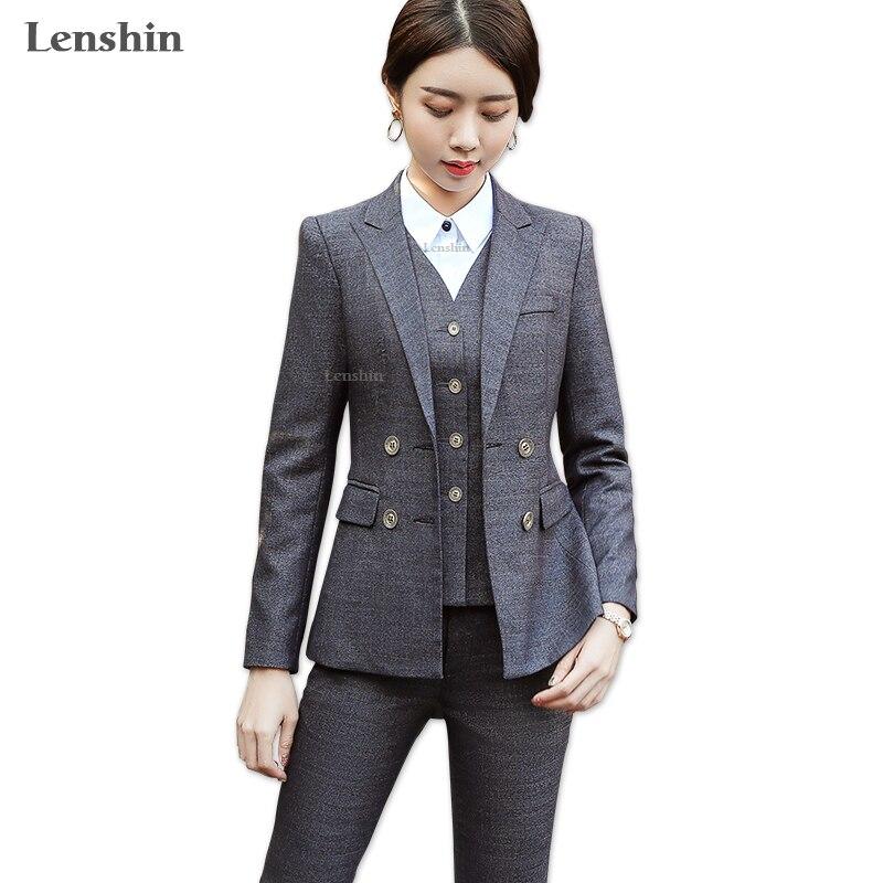 Lenshin комплект из 3 предметов высокого качества жилет брюки костюмы офисные женские туфли Формальные деловой костюм дизайн стиль женский