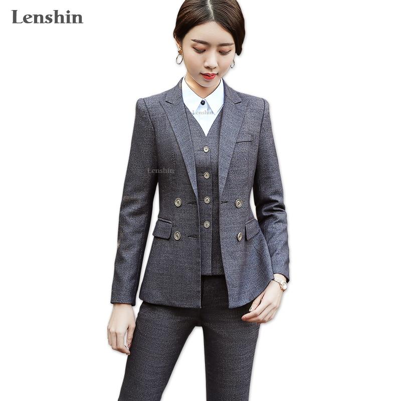 Lenshin 3 stuks Set Hoogwaardige Vest Broek Past Office Lady Formele Zakelijke Uniform Ontwerpen Stijl Vrouwelijke Vrouwen Werkkleding-in Broekpak van Dames Kleding op AliExpress - 11.11_Dubbel 11Vrijgezellendag 1