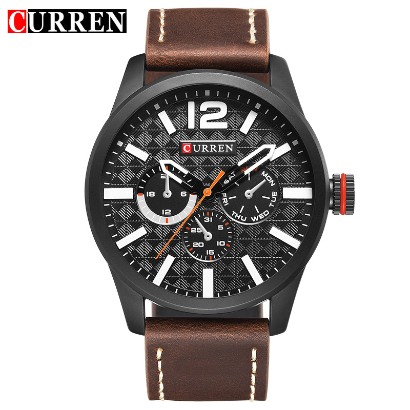 2017 New Curren Mens Watches Top Brand Luxury Leather Quartz Watch Men Wristwatch Fashion Casual Sport Clock Watch Relogio 8247 curren watches mens brand luxury quartz watch men fashion casual sport wristwatch male clock waterproof stainless steel relogios