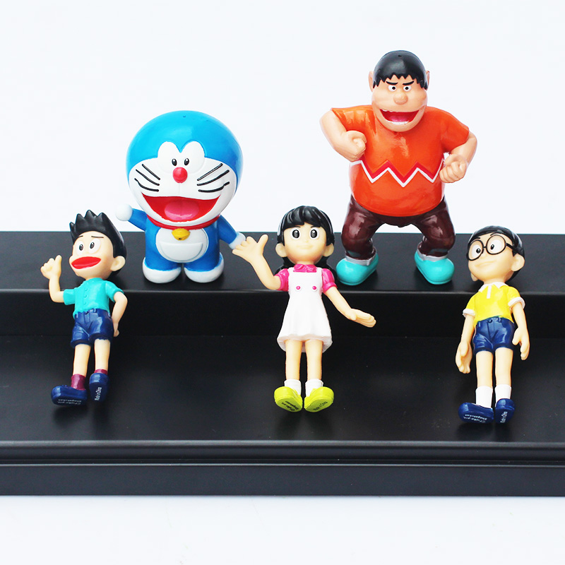 5Pcs / szett 5 ~ 7cm Doraemon PVC ábrázoló játékmodell baba Nobita Nobi Shizuka Minamoto Takeshi Goda Dorami Doranikov játékok