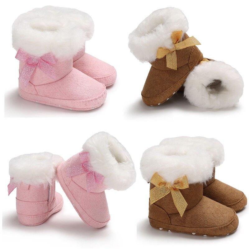 0-18month Nette Neugeborene Baby Mädchen Jungen 2018 Bogen Anti-slip Weiche Slipper Schuhe Warme Schnee Stiefel Sparen Sie 50-70%