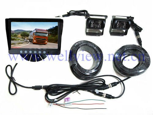 Car Rearview Camera System with 7inch Monitor with Sunvisor and 2 Cameras,DC12V~24V Input
