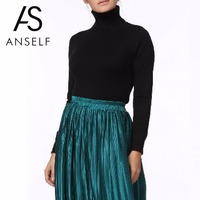 Anself Fashion Winter Ribbed Knitted Sweater Turtleneck Slim Long Sleeve Women Sweaters And Pullovers Top Casual