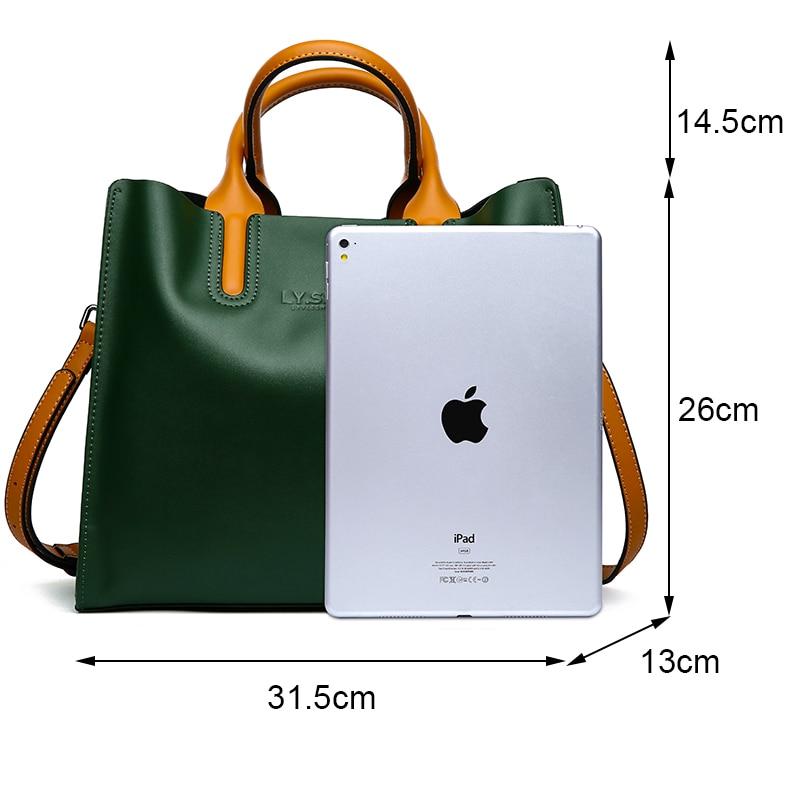 LY.SHARK Big Messenger Bag Women Shoulder Bag Female Bag Ladies Genuine Leather Bags For Women 2019 Women Handbags Green Black Multan