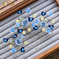 High End women hairpins blue flower hairclips fascinator hair sticks rhinestone bride hairwear wedding accessories Gifts gc077