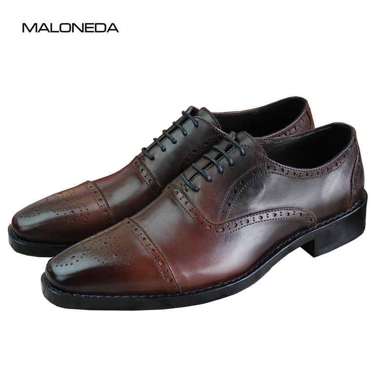 MALONEDA Brand New Men's 100% Genuine Leather Brogues Shoes Big Size 37-47 Custom Made Italy Goodyear Handmade Flat Shoes 800n automatic garage door machine chain door closer made in china garage door motor free gift of 3 meter track