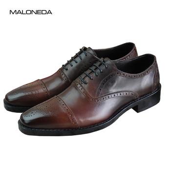af0732cab9b GOSTINSHOES hechos a mano Goodyear Welted hombres Oxfords negro todo corte  vaca cuero Formal Zapatos de vestir para boda Oficina fiesta GSTN19