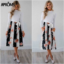 Aproms Chic Dot Floral Print Winter Midi Dress Women Autumn Fashion 2018 Long Sleeve Sashes Bow Tie Party Dresses Female Vestido