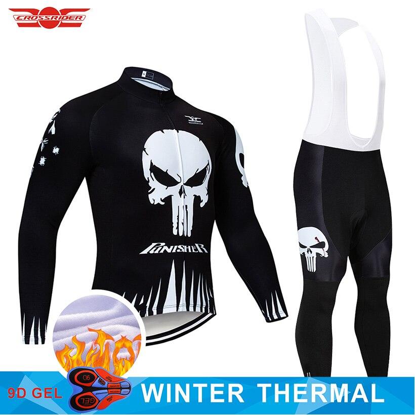 2020 inverno roupas de ciclismo 9d calças conjunto mtb crânio bicicleta roupas dos homens ropa ciclismo térmica velo jaqueta ciclismo wear