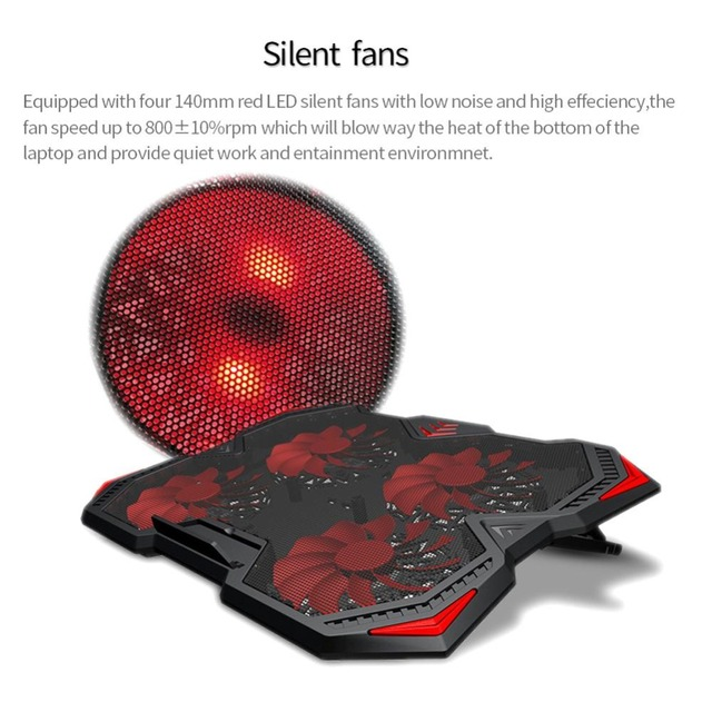 New Laptop Cooling Pad for 12-17 inch Laptop with 4 Silent Fans LED Lights Dual USB Ports r20 4