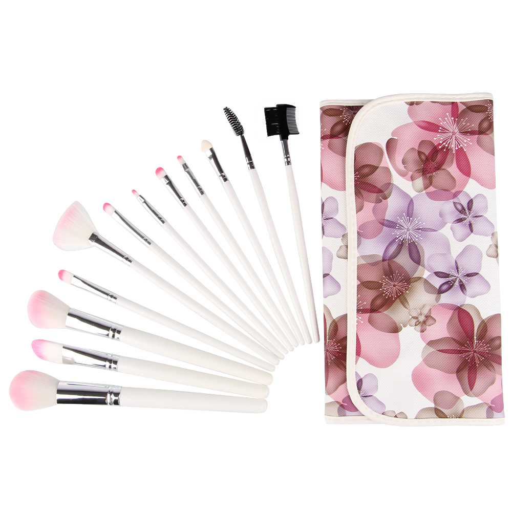 Free Shipping Professional 12 Pieces Makeup Brushes Cosmetics Brush Set With Flower Pattern Case Pink Head 5 pieces free shipping ct machine brushes german imports of raw materials with silver graphite 6 6 20mm