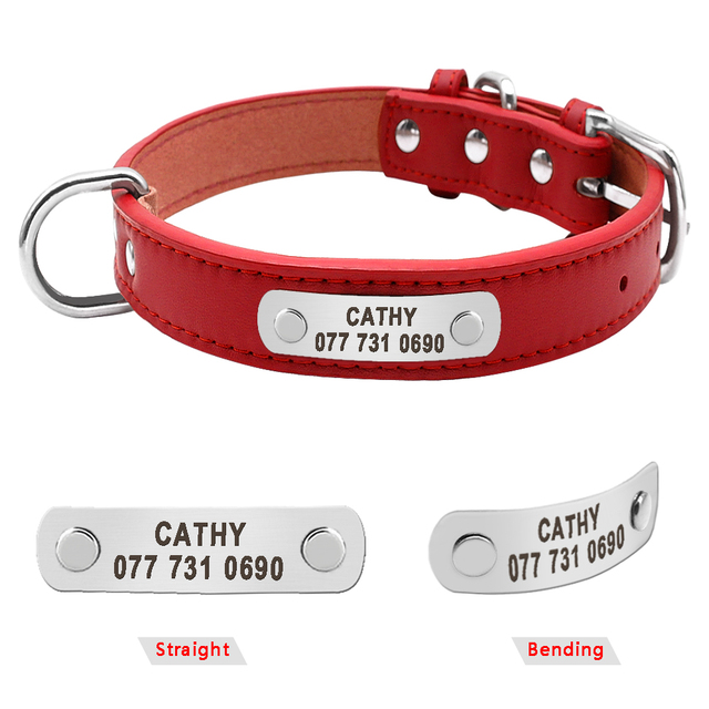 PU Leather Dog Collar Durable Padded Personalized Pet ID Collars Customized for Small Medium Large Dogs Cat Red Black Brown 2