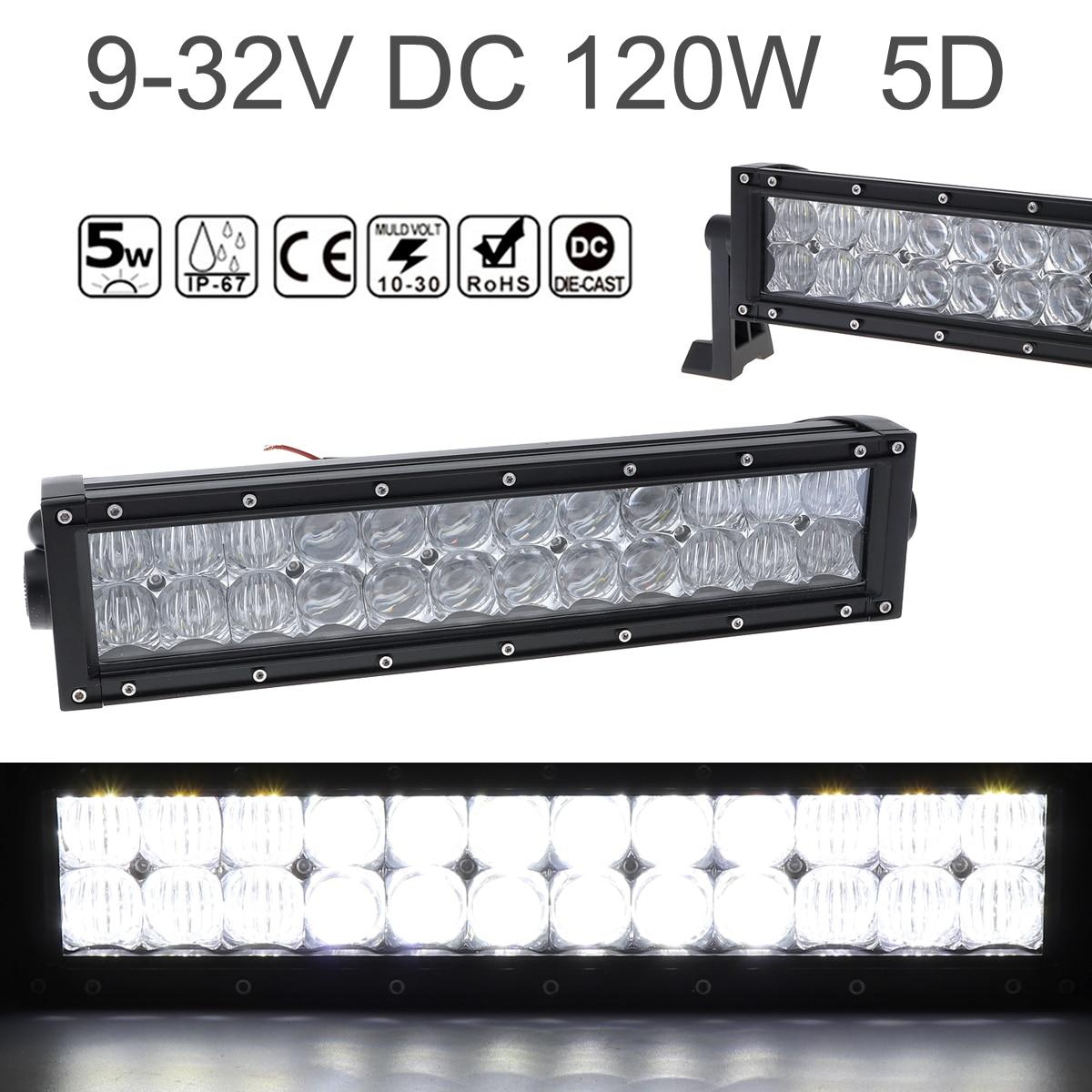 12 pouces 120 W Voiture LED Lampe de Travail Bar 24x 5D Puces Combo Offroad Lumière Conduite Lampe pour Camion SUV 4X4 4WD ATV