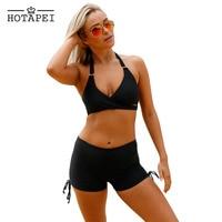 Hotapei High Waist Shorts Swimsuit Women 2017 Black Wrap Sexy Bikinis Push Up Halter Bathing Suits