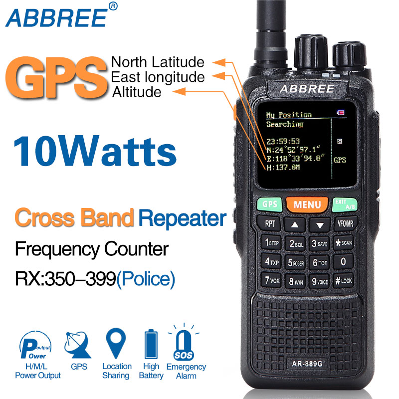 ABBREE AR-889G GPS 10 W Walkie Talkie 889G SOS 999CH Croce capacità di banda ripetitore modalità Notte Dual Band VHF UHF ham Radio CB HF Ricetrasmettitore