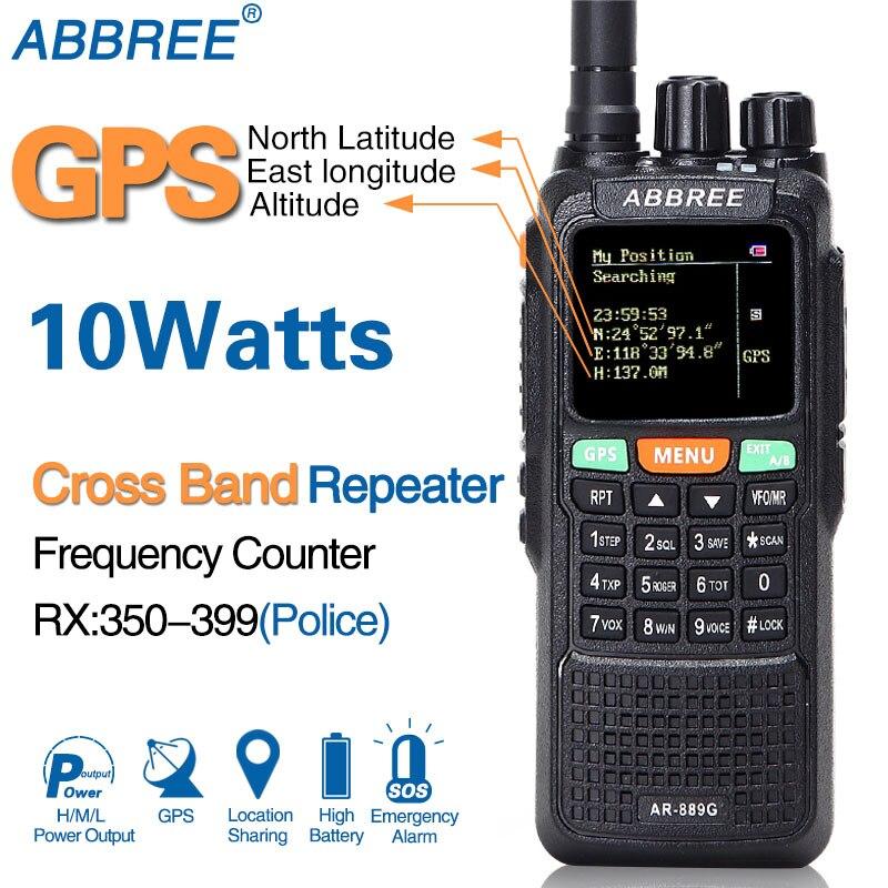 ABBREE AR-889G GPS 10 W Talkie Walkie 889G SOS 999CH Croix bande répéteur mode Nuit Double Bande VHF UHF jambon CB Radio HF Émetteur-Récepteur