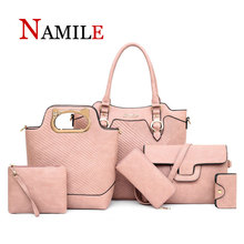 купить Fashion Designer Women PU Leather Handbags Tote Bags Luxury 6 Pieces Set Shoulder Bag Large Capacity Crossbody Bags For Women по цене 4559.18 рублей