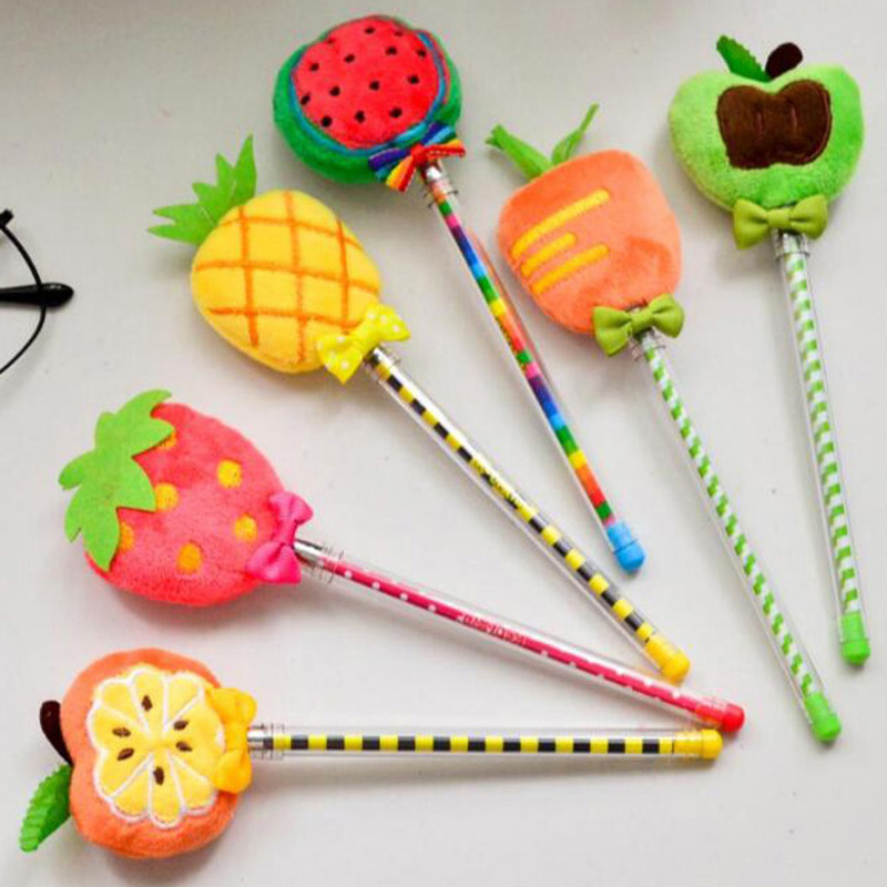 10pcs/lot Fruit Plush Gel Pens Stationery Novelty Gift Office School Supplies Kid Child Christmas Present Gift Prize Papelaria
