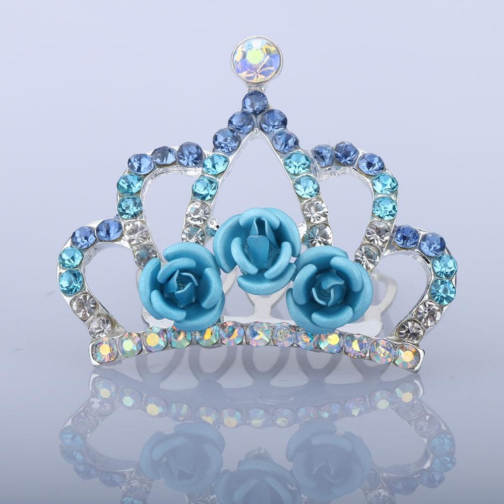 Mini Cute Rose Flower Crystal Rhinestone Princess Crown Hair Comb Birthday Party Tiaras For Girls Kids Hair Jewelry Accessories
