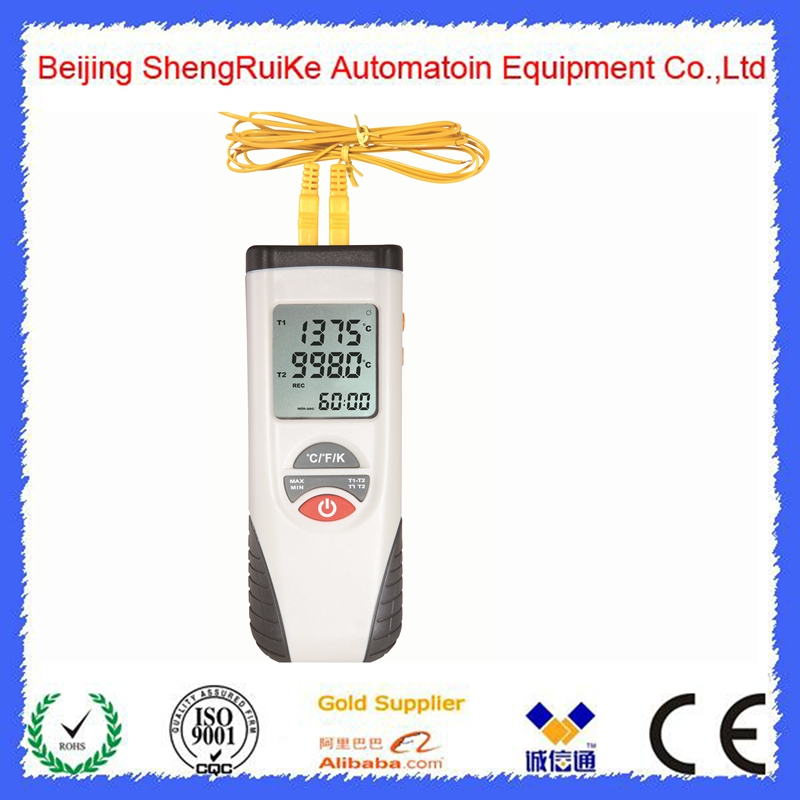 Dual-channel Digital Temperature Meter  Range -200 To 1372 Degree Centigrade Type K Thermocouples HT-L13 LCD Termometro