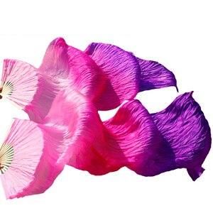 Image 5 - Varitas de bambú hechas a mano accesorios de baile abanico para danza del vientre seda Natural 1 pieza mano izquierda + 1 pieza mano derecha danza seda abanico rayas multicolor
