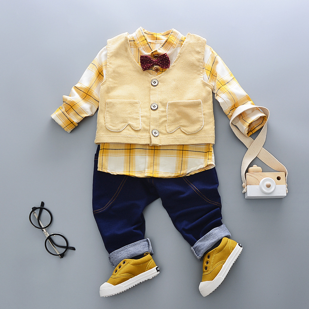 Baby Boys 4 color Fashion Clothing Sets Children Cotton Long Sleeve Shirt + Pants+ Vest 3 pcs/sets fashion baby clothing sets2016autumn baby boys clothes long sleeve letter t shirt pants hats 3pcs cotton suits children clothing